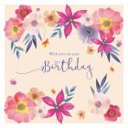 With Love On Your Birthday Big Flowers - Cards for Good Causes Charity Single Card - Plastic Free