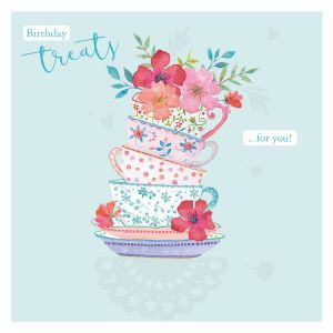 Birthday Treats Tea Cup - Cards for Good Causes Charity Single Card - Plastic Free