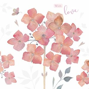 With Love Hydrangeas- Cards for Good Causes Charity Single Card - Plastic Free