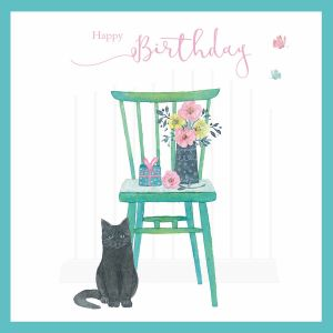 Happy Birthday Black Cat Card - Cards for Good Causes Charity Single Card - Plastic Free