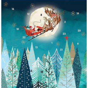 Flying Over the Moon Square Advent Calendar - Cards For Good Causes Charity Christmas Cards