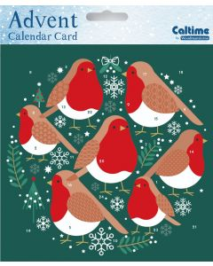 Festive Robins Advent Card - Cards For Good Causes Charity Christmas Cards