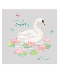 Just For You Swan Card - Cards for Good Causes Charity Single Card - Plastic Free