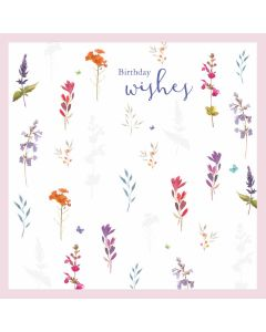 Birthday Wishes Floral Sprigs Card - Cards for Good Causes Charity Single Card - Plastic Free