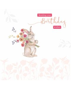 Birthday Wishes Bunny - Cards for Good Causes Charity Single Card - Plastic Free