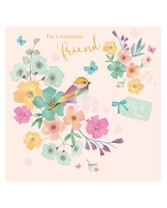 Wonderful Friend Bird Card - Cards for Good Causes Charity Single Card - Plastic Free