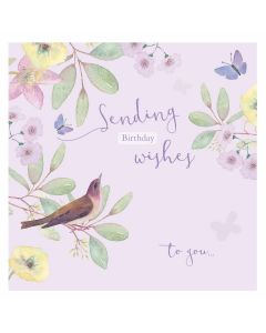 Sending Birthday Wishes Bird - Cards for Good Causes Charity Single Card - Plastic Free