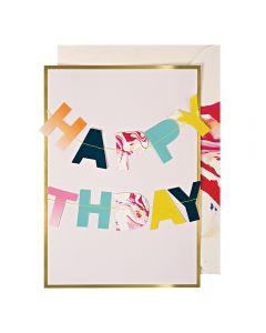 Marble Birthday Garland Single Card