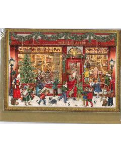 Miniature Victorian Chocolaterie Advent Calendar Card - Christmas Charity Gifts and Decorations