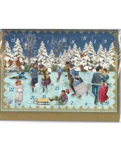 Miniature Victorian Advent Calendar - Ice Skating - Christmas Charity Gifts and Decorations