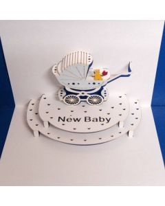New Baby Blue Pop Out Single Card