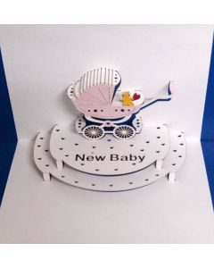 New Baby Pink Pop Out Single Card