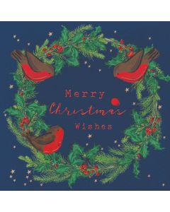 Robins Wreath - Barnados Charity Christmas Cards