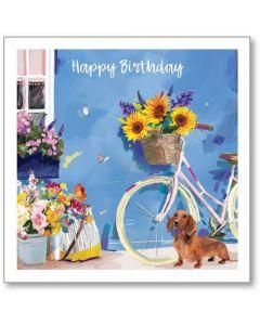Birthday Bike and Sausage Dog Single Card