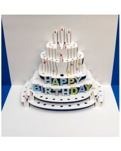 Blue Happy Birthday Cake Pop Out Single Card