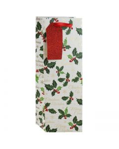 Traditional Holly Bottle Bag - Charity Christmas Gifts & Decorations