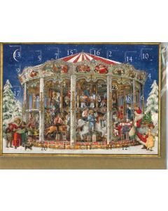 Miniature Victorian Advent Calendar - Carousel - Christmas Charity Gifts and Decorations