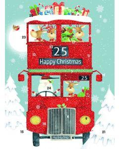 Santa's Bus - Traditional Advent Calendar Card
