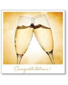 Elegant Champagne Glasses Congratulations Single Card