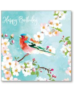Chaffinch On A Branch Happy Birthday Single Card