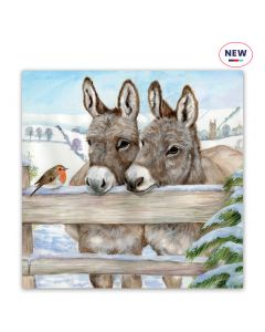 Donkeys at Fence - Help For Heroes Charity Christmas Cards