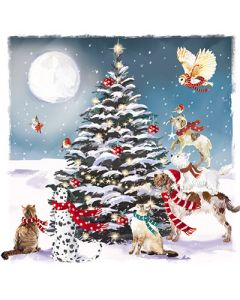 Festive Animals Around the Tree - Multiple Sclerosis Trust Charity Christmas Cards