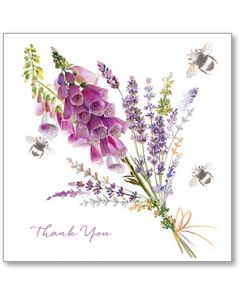 Foxgloves And Lavender Thank You Single Card