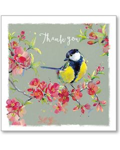 Great Tit On Quince Blossom Thank You Single Card