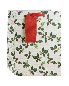 Traditional Holly Gift Bag (Medium) - Charity Christmas Gifts & Decorations
