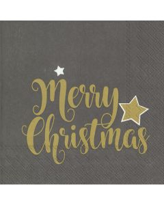 Shiny Merry Christmas Grey Lunch Napkins - Charity Christmas Gifts & Decorations