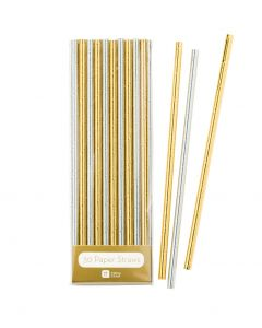 Gold and Silver Paper Straws