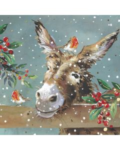 Donkey and holly - Parkinson's UK Charity Christmas cards