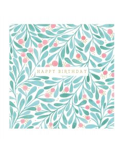 Happy Birthday Foliage and Berries Single Card