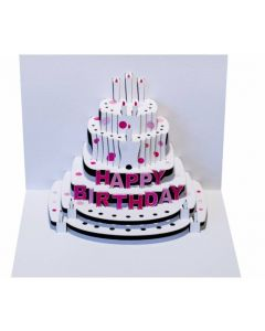 Pink Happy Birthday Cake Pop Out Single Card