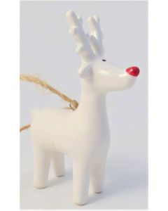 White Reindeer/Red Nose Tree Decoration - Charity Christmas Gifts & Decorations