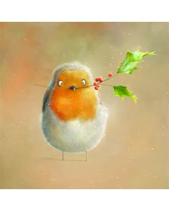 Robin With Holly  - National Autistic Society Charity Christmas Cards