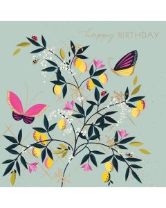 Butterflies and Lemons Happy Birthday Single Card