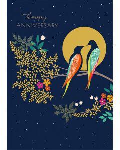 Birds and Moon Anniversary Single Card