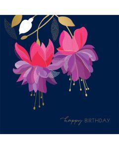 Fuschias on Navy Birthday Single Card