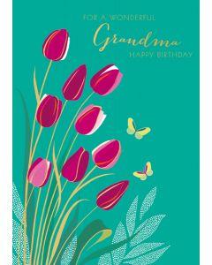 Wonderful Grandma Happy Birthday Single Card