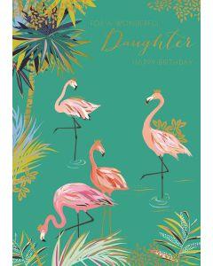 Flamingo Happy Birthday Daughter Single Card