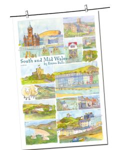 South and Mid Wales Local Scene Cotton Tea Towel