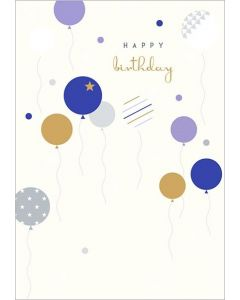 Blue Balloons Birthday Single Card