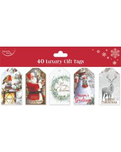 40PK Traditional Gift Tags - Charity Christmas Gifts & Decorations