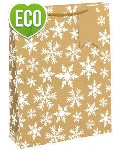 Snowflake Eco Kraft Bag Bottle - Charity Christmas Gifts & Decorations